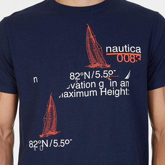 """Navigate Life"" Graphic T-Shirt,Navy,large"