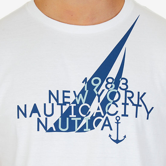 NYC J Class 1983 Graphic T-Shirt,Bright White,large