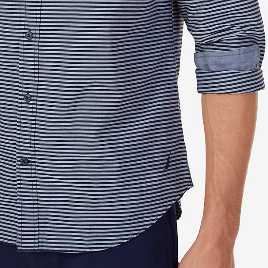 Striped Slim Fit Button-Down Shirt,Peacoat,large