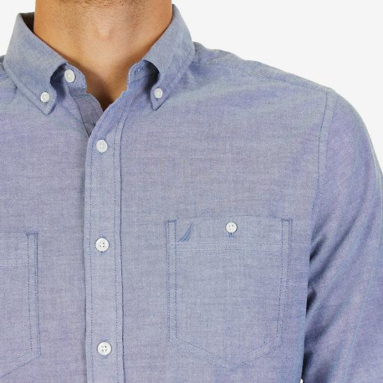 Classic Fit Chambray Poplin Shirt,Estate Blue,large
