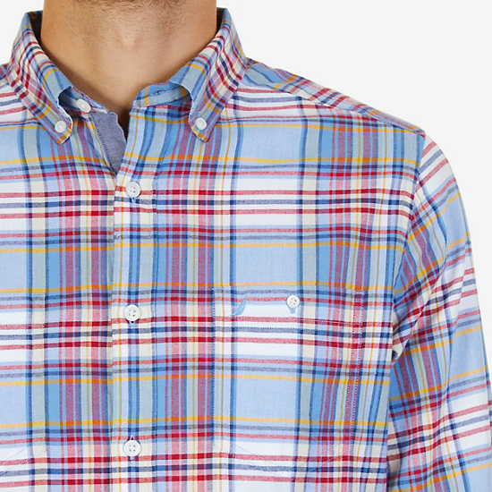 Classic Fit Riviera Plaid Flannel Shirt,Riviera Blue,large