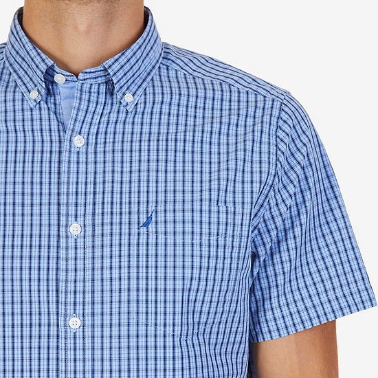 Classic Fit Plaid Poplin Shirt,Bright Cobalt,large