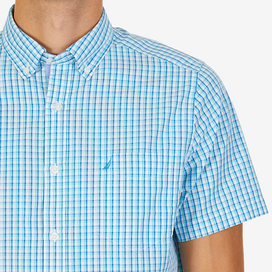 Gingham Plaid Classic Fit Short Sleeve Button Down Shirt,Sapphire,large