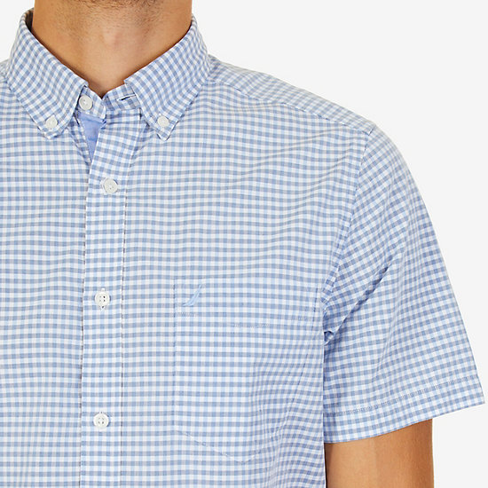Classic Fit Gingham Shirt,Blue,large