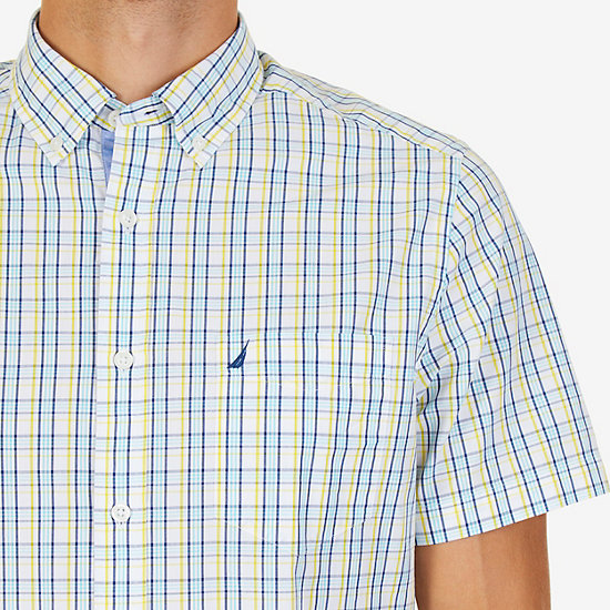 Tartan Plaid Classic Fit Short Sleeve Button Down Shirt,Vibrant Yellow,large