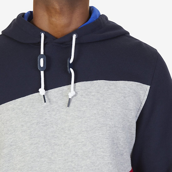 Nautica Big & Tall Color Blocked Logo Pullover Hoodie,Navy,large
