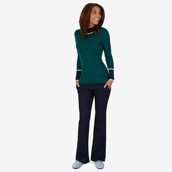 Ribbed Mockneck Sweater,Evergreen,large