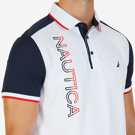 Classic Fit Short Sleeve Bold Logo Performance Polo,Bright White,large