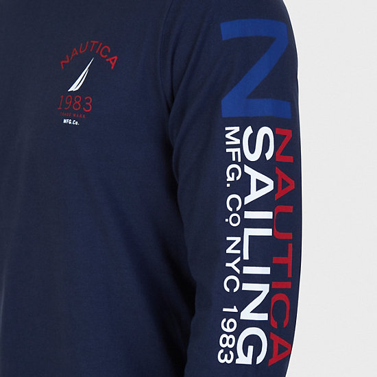 J Class Arm Long Sleeve T-Shirt,Navy,large