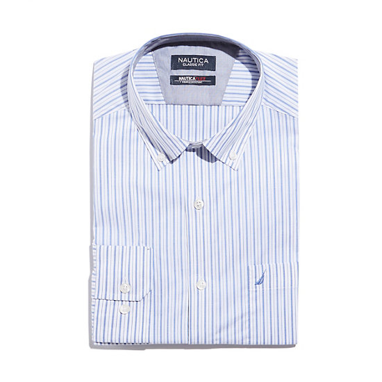 Long Sleeve Classic Fit Striped Wrinkle-Resistant Shirt,French Blue,large