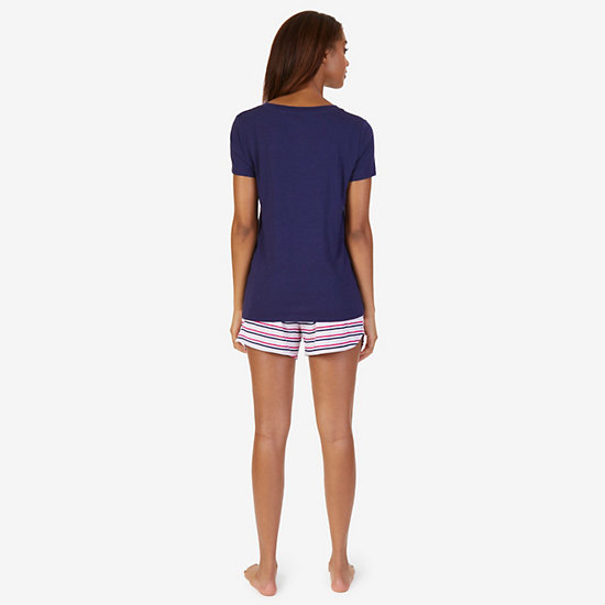 Graphic Tee & Striped Short Pajama Set,964,large