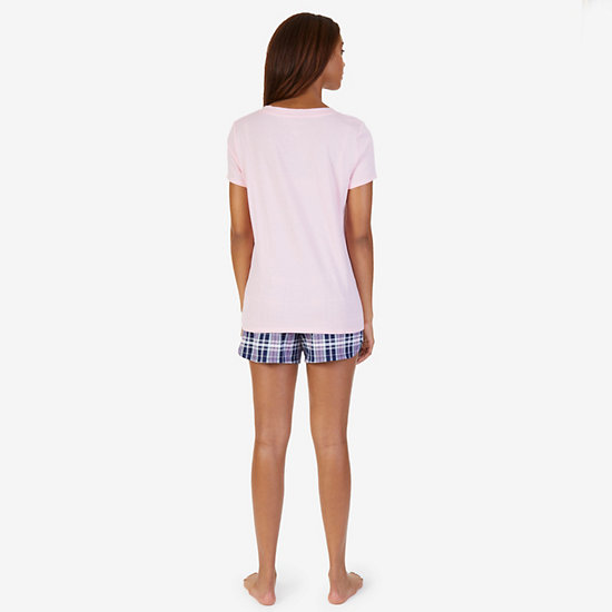 V-Neck Tee & Plaid Short Pajama Set,Pilot Blue,large