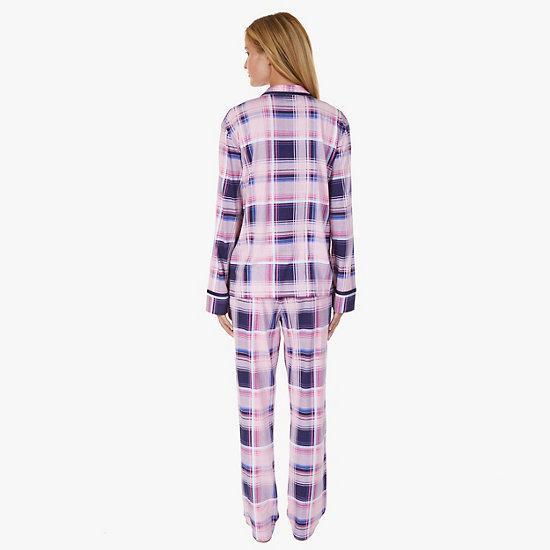 Plaid Jersey Knit Pajama Set,Shipwreck Burgundy,large
