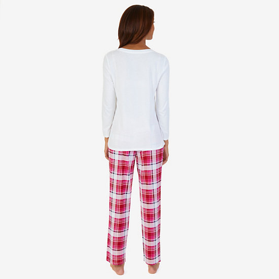 Graphic Sleep Tee & Allover Print Pants PJ Set,Petunia,large