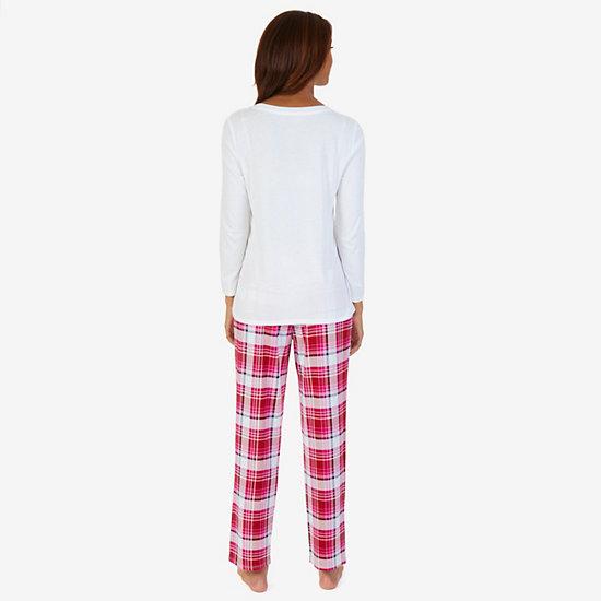 Graphic Sleep Tee & Allover Print Pants PJ Set,Petunia,large