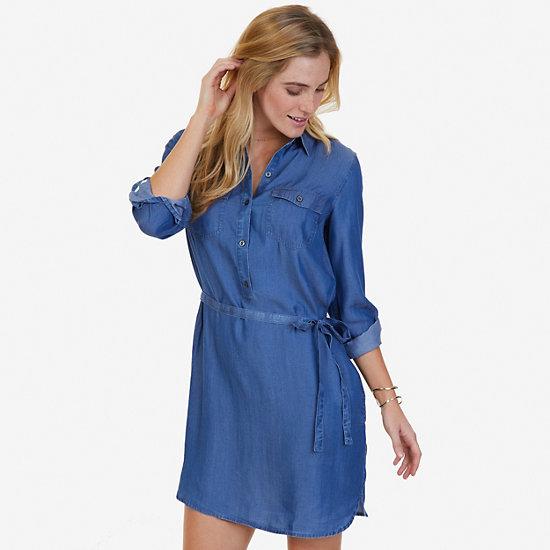 Denim Shirt Dress,Cape Grey Wash,large