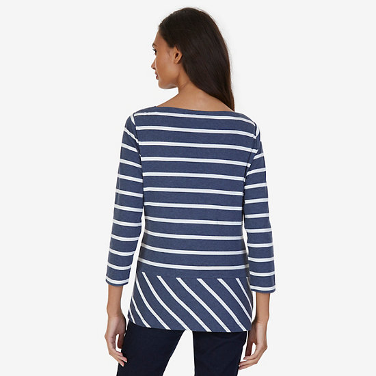 Striped Envelope Neck Top,Starlight Blue,large