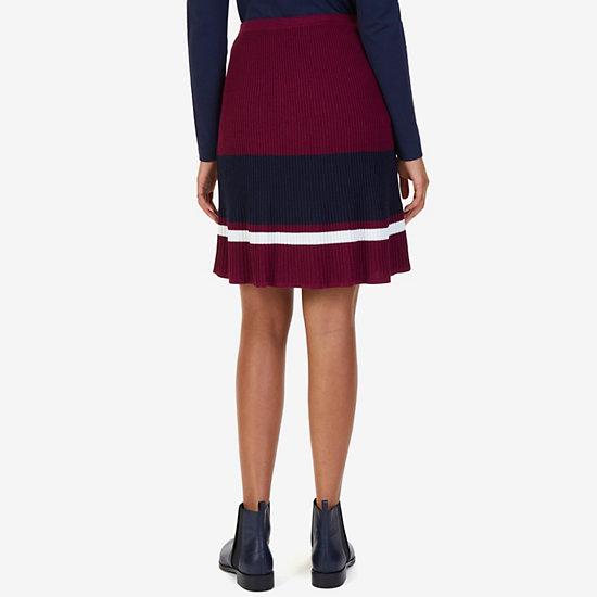 Striped Ribbed Skirt,Port Scarlet,large