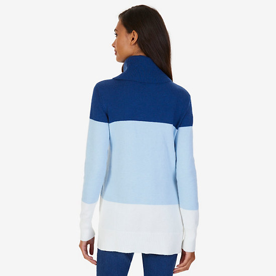 Colorblock Turtleneck Sweater,Clear Skies Blue,large