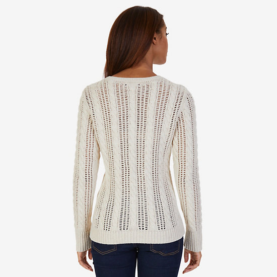 Open Stitch Cable Knit Sweater,Sand Drift,large
