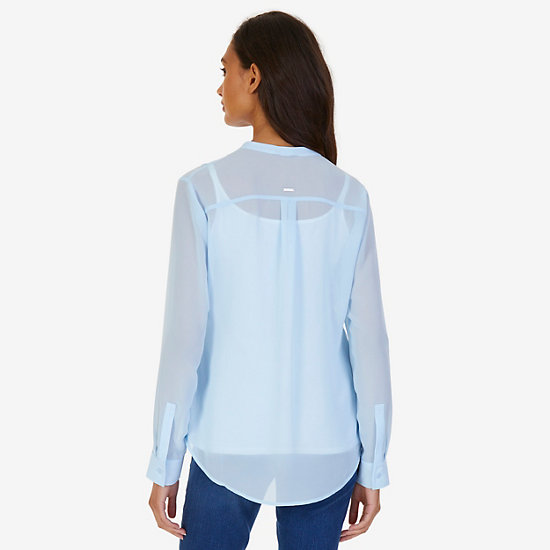 Button-Down Grid Blouse,Clear Skies Blue,large