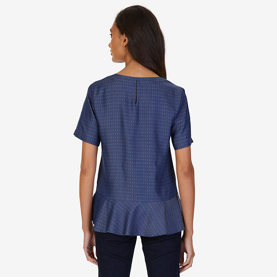 Elbow Sleeve Peplum Top,Washed Blue,large
