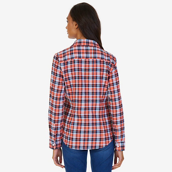 Plaid Cotton Flannel Slim Fit Button Down,Icelantic Orange,large