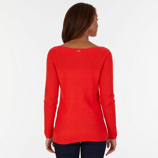Boatneck Cable Sweater,Red,large