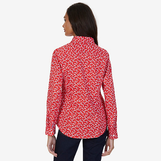 Floral Sateen Slim Fit Perfect Button-Down Shirt,Red,large