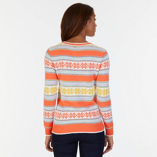Snowflake Stripe Sweater,Icelantic Orange,large