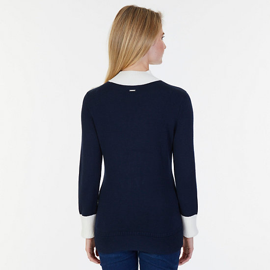 Colorblock Mock Neck Sweater,Dreamy Blue,large
