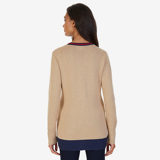 Collegiate V-Neck Cardigan,Brown Heather,large