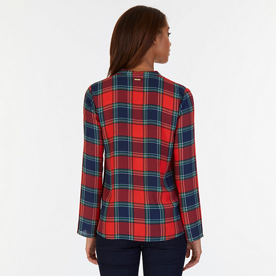 Tartan Plaid Georgette Top,Red,large