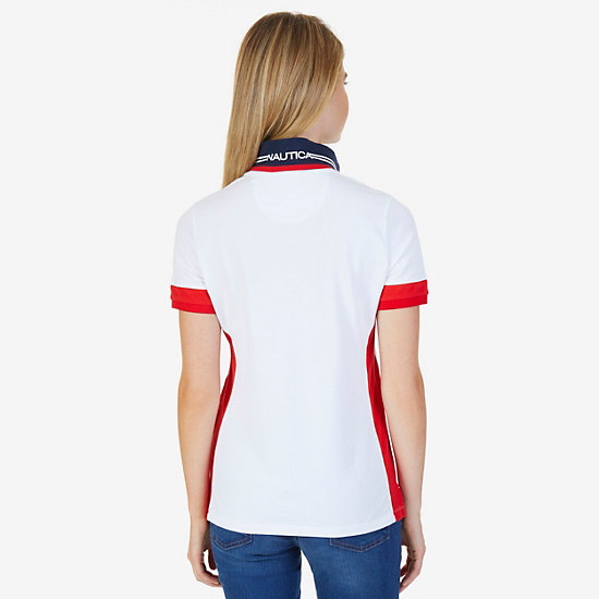 Colorblocked Stretch Pique Polo Shirt,Bright White,large