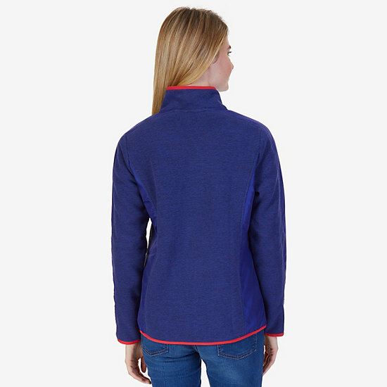 Sherpa Collar Marled Zip Nautex Fleece Jacket,Navy,large
