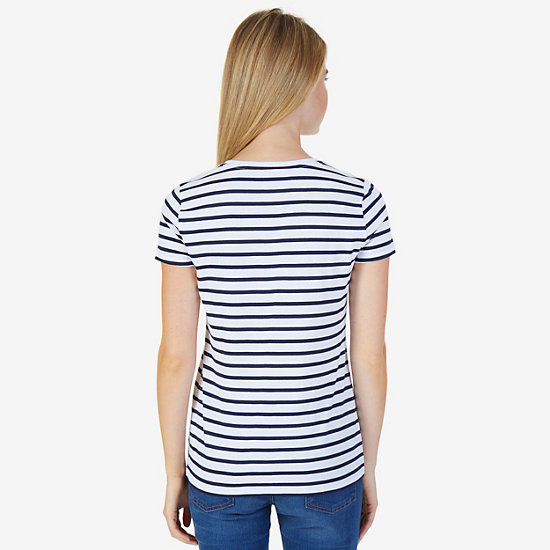 Regatta Stripe Short Sleeve T-Shirt,Bright White,large