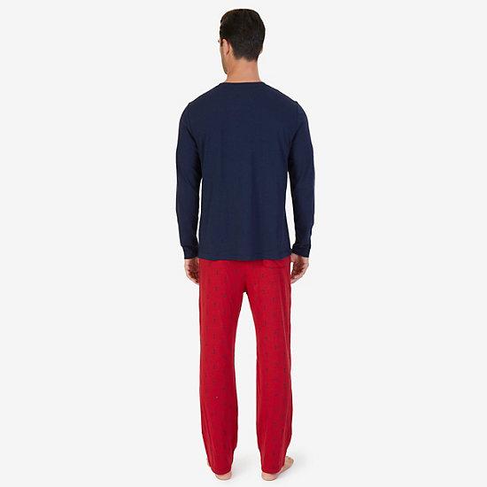 Anchor Print Knit Pajama Set,Navy,large