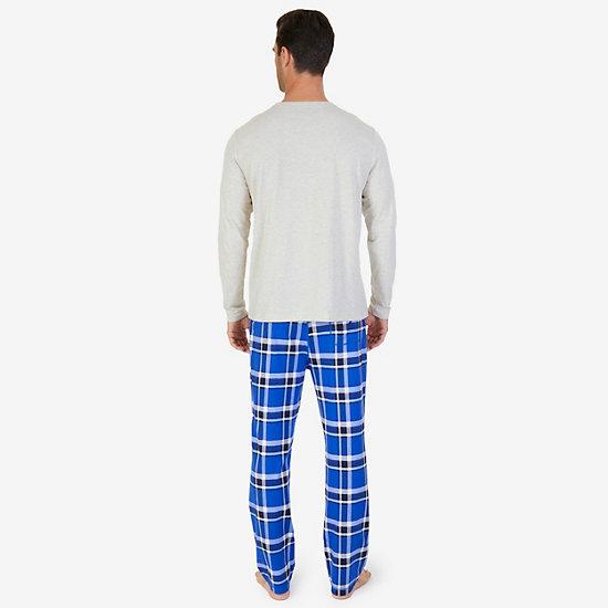 Plaid Knit Pajama Set,Oatmeal,large