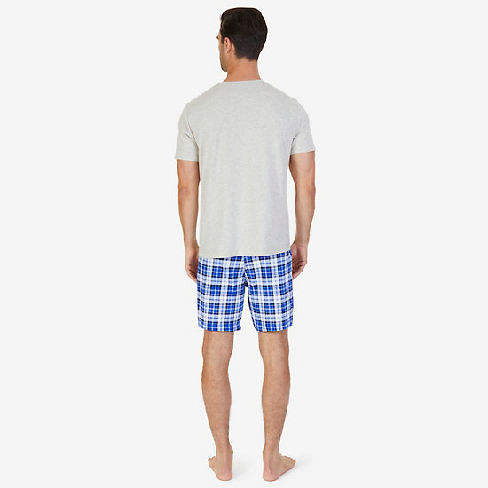 Solid Tee & Plaid Pajama Short Set,Oatmeal,large