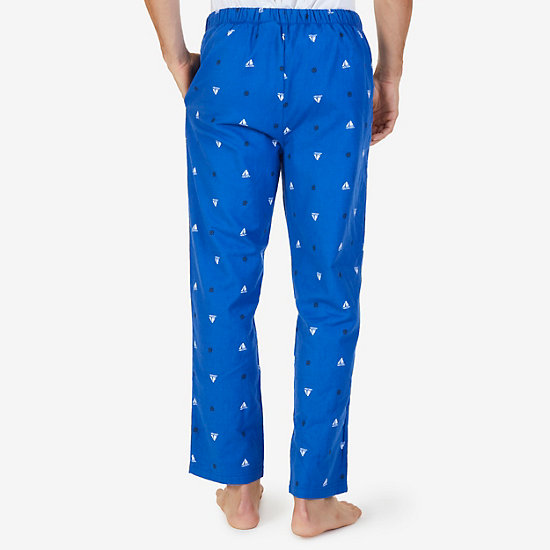 Sailboat Print Flannel Pajama Pants,Bright Cobalt,large