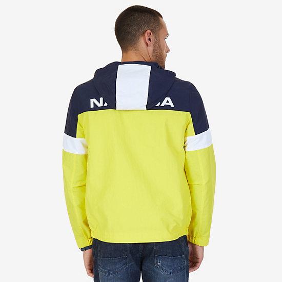 Hooded Colorblock Nylon Jacket,Canary,large