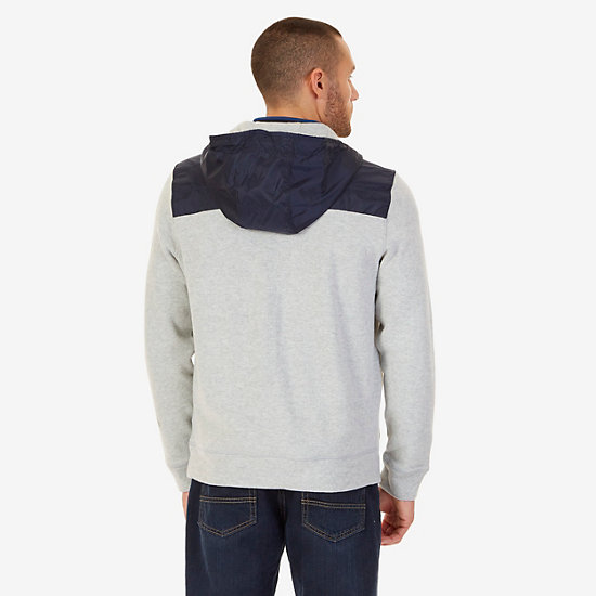 Pieced Pullover Hoodie,Grey Heather,large