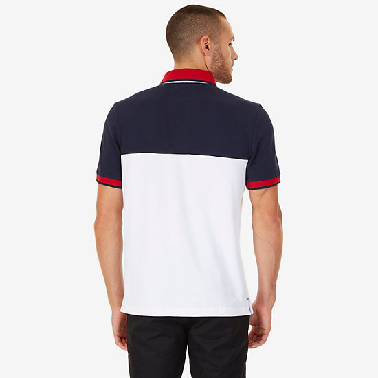 Classic Fit Colorblock Pique Polo Shirt,Bright White,large