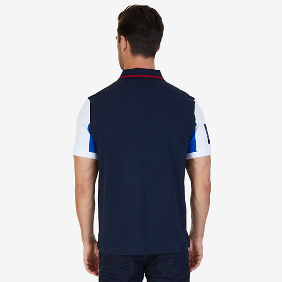 Classic Fit Logo Detail Zip Polo Shirt,Navy,large