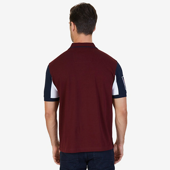 Classic Fit Logo Detail Zip Polo Shirt,Royal Burgundy,large