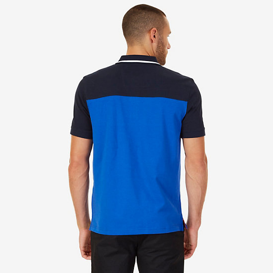 Classic Fit Colorblock Logo Polo Shirt,Bright Cobalt,large