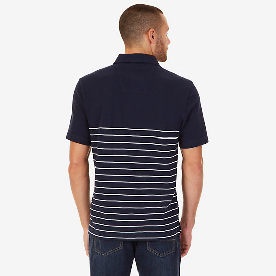 Classic Fit Striped Logo Polo Shirt,Navy,large