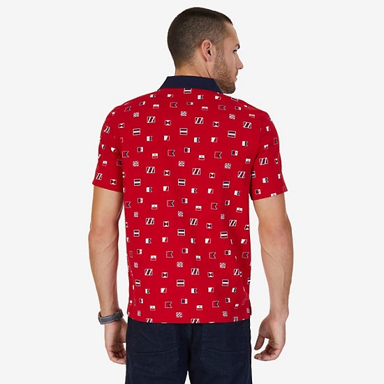 Heavy Jersey Classic Fit Printed Polo,Nautica Red,large