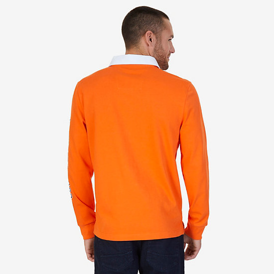 Classic Fit Long Sleeve Logo Polo Shirt,Mack Orange,large