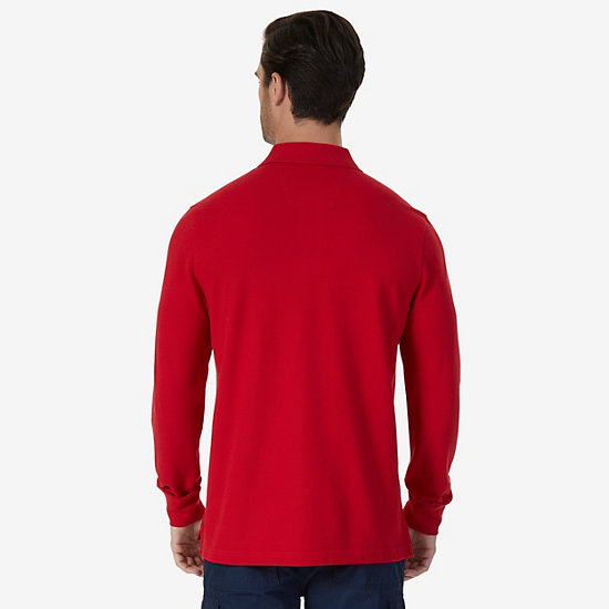 Classic Fit Long Sleeve Polo Shirt,Nautica Red,large